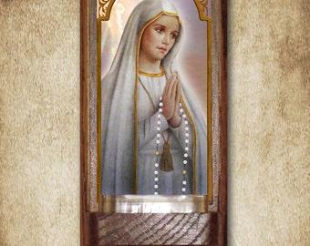 "Our Lady of Fatima Holy Water Font, Oak, Catholic, 7.5"" x 3.5"", Free Shipping"