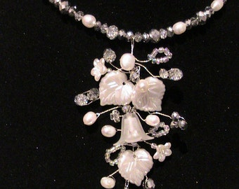Bridal Necklace with floral wire work