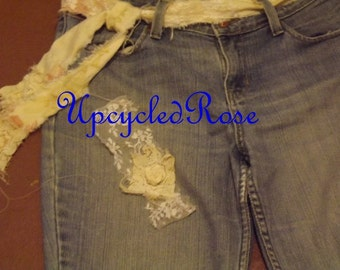 Wake Up Sleepy Jean  Bohemian Hippie Chick Fall Fashion Upcycled Jeans