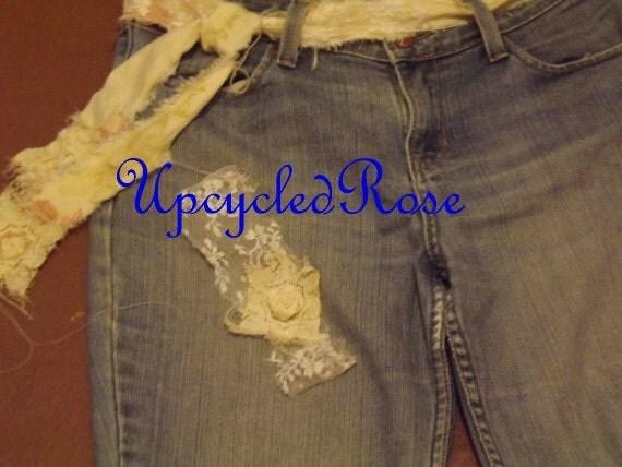 Wake Up Sleepy Jean  Bohemian Hippie Chick Fall Fashion Upcycled Jeans