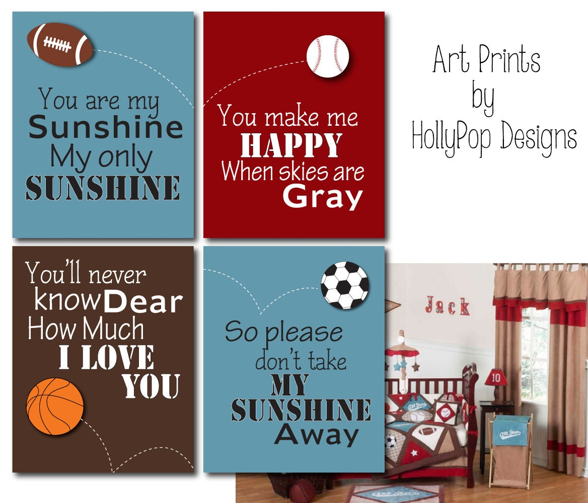 Sports nursery art kids room decor you are my sunshine boy zoom amipublicfo Images