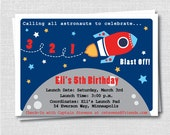 Rocket Ship Birthday Party Invitation - Outer Space Themed Birthday - Digital Design or Printed Invitations - FREE SHIPPING