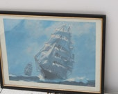 Vintage Framed Signed Joe Corish Sailing Ship Print