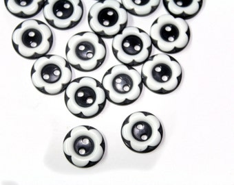 20 Pcs Small Floral Flower  Black and White  Buttons with 2 holes - For Sewing, Fashion Crafts and Accessories