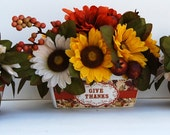 Silk Mini Sunflowers in Thanksgiving Vase-Set of Three