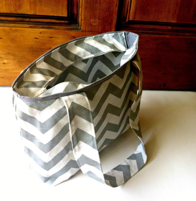 chevron diaper bag with zipper small chevron tote bag grey. Black Bedroom Furniture Sets. Home Design Ideas