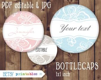 Editable Bottlecap Digital Collage Image, lace bottle cap image 1 inch circle, wedding favor - Instant Download - 231