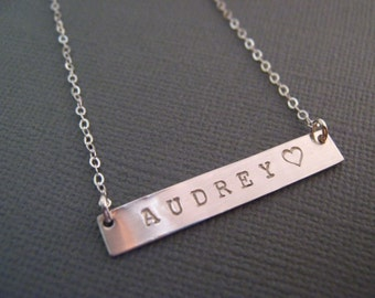 Personalized Gift, Silver Name Necklace, Silver Bar Necklace, Personalized Necklace, Bar Necklace, Personalized Jewelry