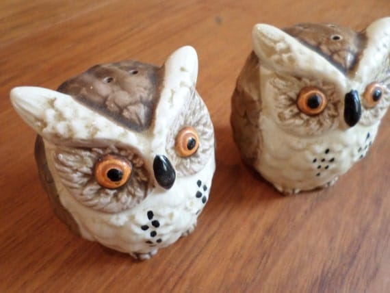 Vintage owl salt and pepper shakers super by elodievintagehome