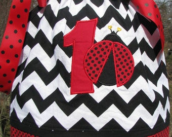 red polka dot and black chevron ladybug pillowcase dress