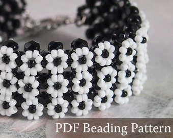 Beading Tutorial Daisy Bracelet, Beading pattern, PDF