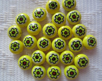 25  Yellow Red Black & White Flower Millefiori Rounded Button Lampwork Glass Beads  9mm