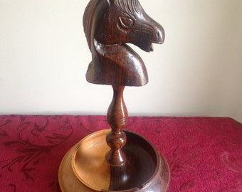 Vintage Carved Wood Horse Head Ashtray
