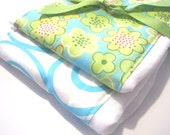 Baby Burp Cloth Set - Cute Aquamarine, Lime Green Flowers, Teal Blue Ironworks, Swirls- Michael Miller Fabric
