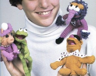 Muppets Knit and Crochet Pattern, Kermit the Frog, Mrs. Piggy, Fozzy Bear & Gonzo