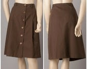 1970s Brown Button Front A Line Western Style Skirt - New Old Stock (NOS)