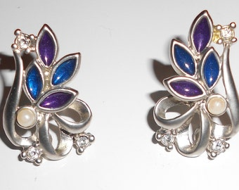 Vintage clip on earrings Falling Leaves purples blues silver earrings with rhinestones and faux pearls 1960s jewelry