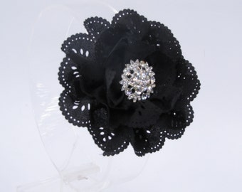 Fancy black hair clip, black eyelet flower with super bling rhinestone center, black hair clip, black flower hair clip, black hair accessory