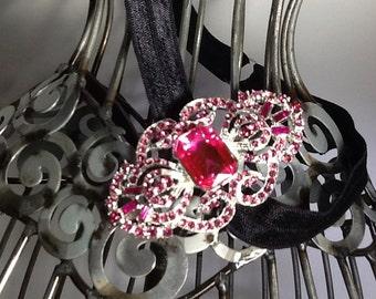 Rhinestone headband, black soft headband with hot pink rhinestone accent, fancy headband, formal headband, rhinestone hair accessory