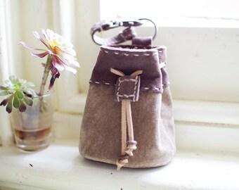 Leather Medicine Bag, Pig Suede, Small Bag, Mocha & Grayish Brown Leather, Handstitched