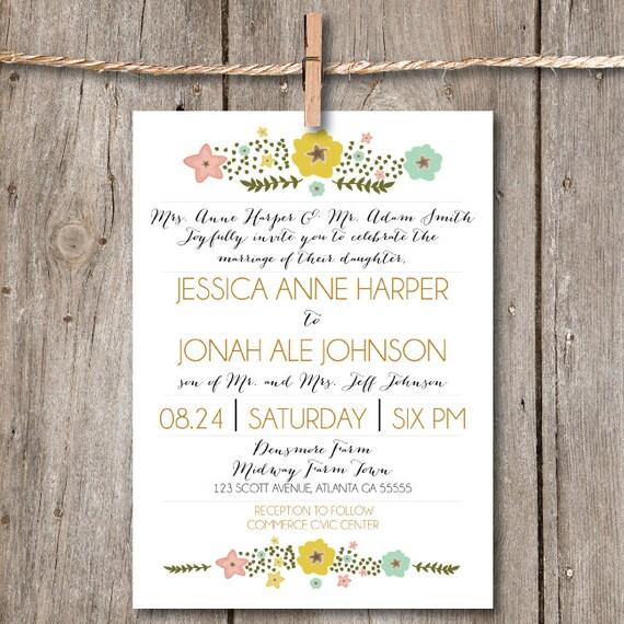 Items Similar To Printable Wedding Invitation Dainty Flowers Jar DIY Downloadable Invitation