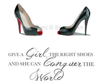 CHRISTIAN LOUBOUTIN Black Shoes Art Print, Marilyn Monroe Quote, Fashion Gifts, Wall Art