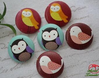 6pcs 22mm Fabric Button Set - Owl Forest Series C (ST155FBC)