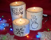 Christmas Birch Candle Holders, Let It Snow, Festive Holiday Saying, Rustic Christmas - Northwoodswood