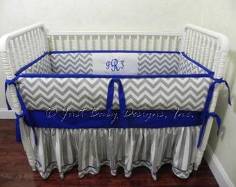 Custom Baby Crib Bedding Set Skyler - Baby Boy Bedding, Royal Blue Baby Bedding