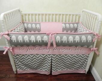 Custom Baby Girl Bedding Set Daphne - Elephant Baby Bedding, Girl Crib Bedding, Gray and Pink Baby Bedding