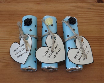 Mint to be Favors- Wedding, Bridal Shower Favors- Personalized Mint to Be Favors- Blue & Black-Set of 24
