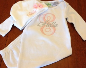 Monogrammed Baby Gown with Hat-Newborn gift set-personalized baby set- Baby girl personalized coming home outfit-newborn set-coming home out