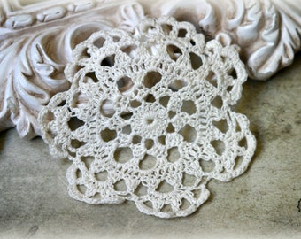 Ivory Vintage Handmade Cotton Crochet Doily Approx. 4 inches across DL-005