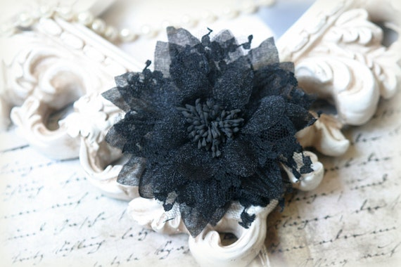 Black Shabby Chic Lace Flower, back has attached brooch, for Headbands, Clothing, Sashes, Crafting, etc, approx. 4.50 inches FL-159
