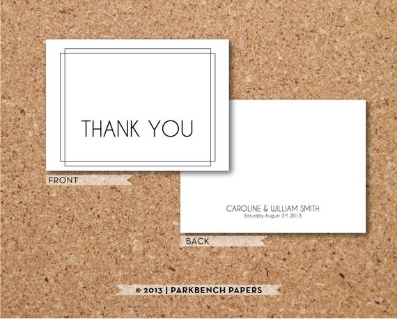art deco thank you card diy editable word template instant. Black Bedroom Furniture Sets. Home Design Ideas