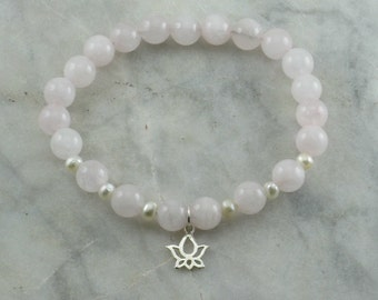 Lotus Mala Bracelet- Rose Quartz Mala Beads and Lotus Buddhist Prayer Beads, 21Mala Beads for hope, love, purity of heart
