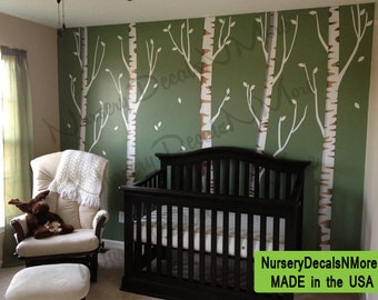 Birch Tree Decal, Reusable, Repositionable White Birch Tree Wall Decals (5  brown birch, no birds) OBT
