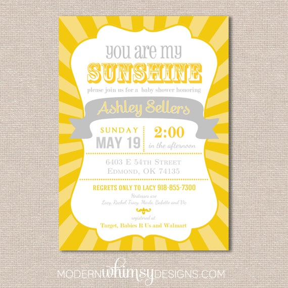 you are my sunshine baby shower gender reveal invitation birthday