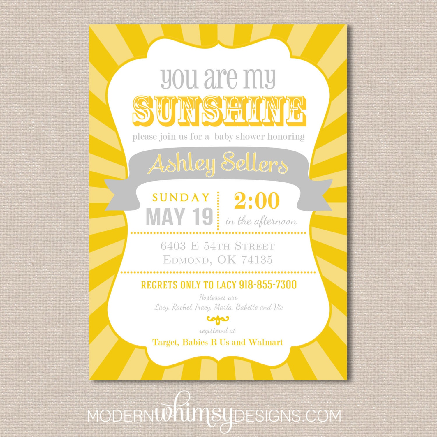 you are my sunshine baby shower gender by modernwhimsydesign