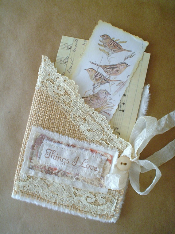 Burlap Lace Fabric Pocket Photo Holder Card Letter Holder