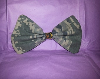 Air Force Hair Bow with Leopard Print Center