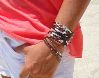 Leather  Bracelet / Necklace - Available in 10 Leather Colors