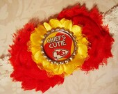 Kansas City Chiefs Headband baby or toddler girls - Chief's Cutie Bottle Cap headband
