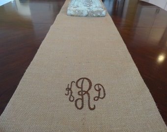 Monogrammed Burlap Runner - Custom Length