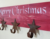 Merry Christmas Red Star Hook Sign