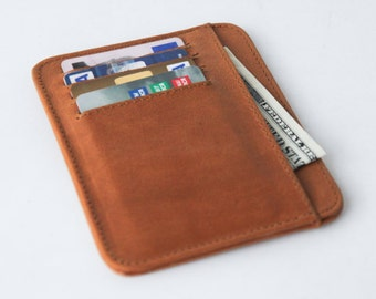 small wallet / card holder - Tanned genuine leather