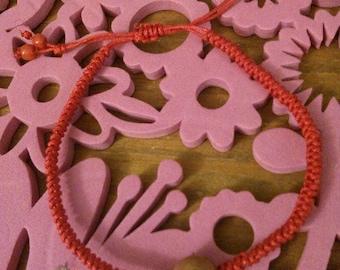 Red silk cord good luck Vajra knotted Vajra blessing / wishing bracelet