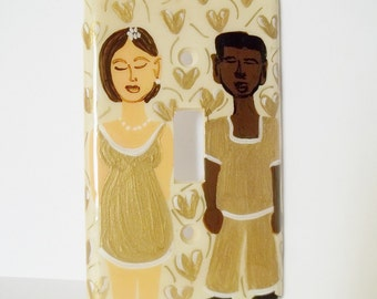 Couple in Love/Hand Painted/Light Switch Plate/Gold Cream/Home Decor/Mod