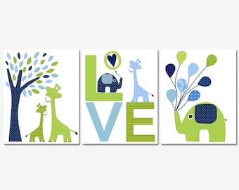 Navy, blue and green Nursery Art Print Set, 8x10, Kids Room Decor - Animals,elephant, balloons, giraffe, tree, love nursery art