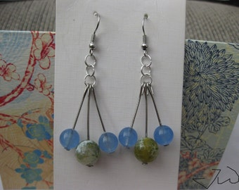Blue Crystal and Green Agate Bead Stainless Steel Earrings